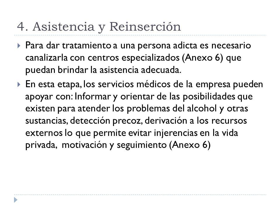 4. Asistencia y Reinserción Para dar tratamiento a una persona adicta es necesario canalizarla con centros especializados (Anexo 6) que puedan brindar