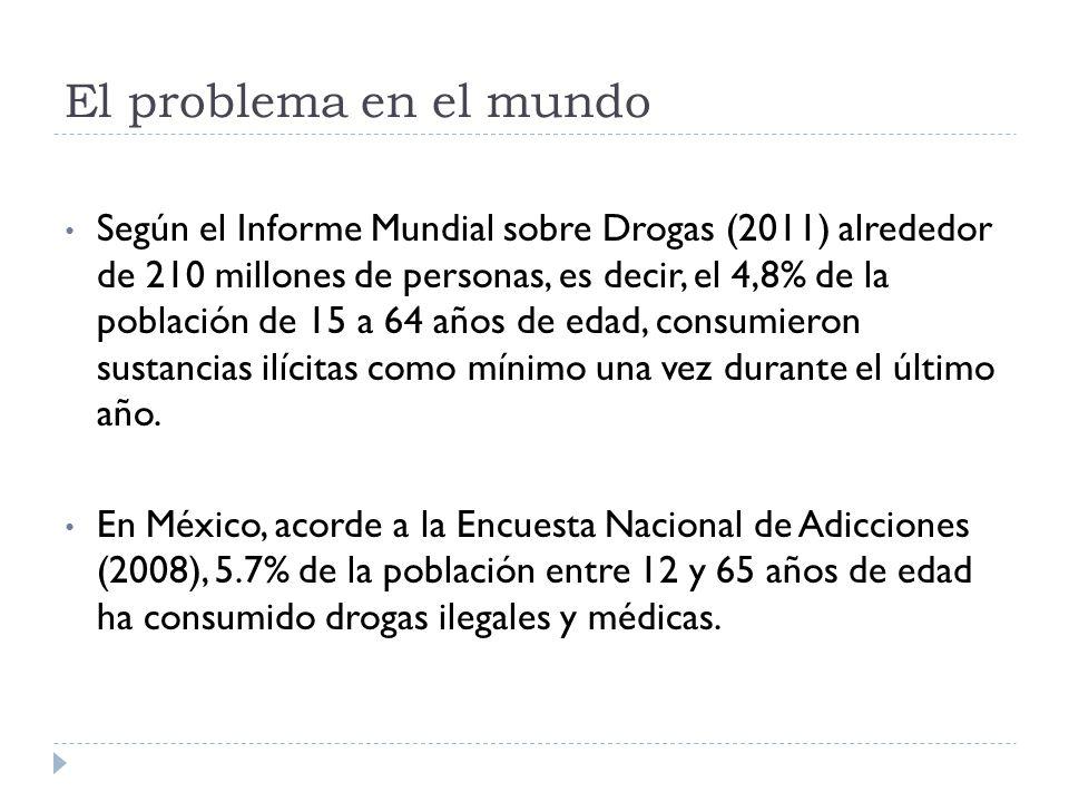 El problema en el mundo Según el Informe Mundial sobre Drogas (2011) alrededor de 210 millones de personas, es decir, el 4,8% de la población de 15 a