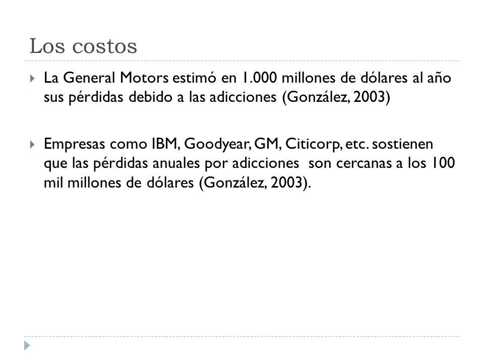 Los costos La General Motors estimó en 1.000 millones de dólares al año sus pérdidas debido a las adicciones (González, 2003) Empresas como IBM, Goody