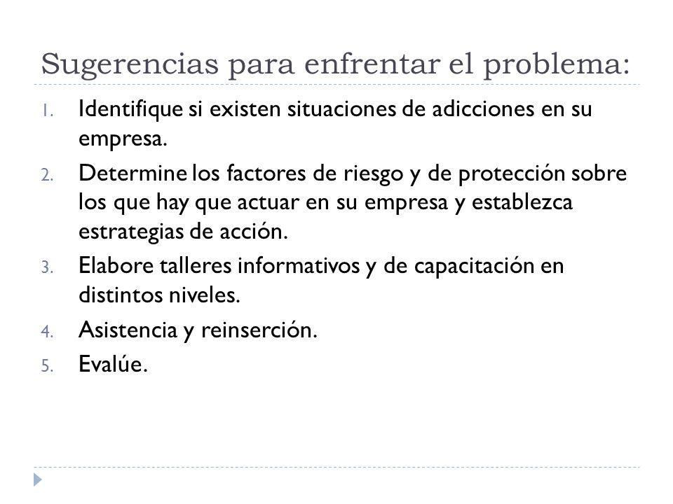 Sugerencias para enfrentar el problema: 1. Identifique si existen situaciones de adicciones en su empresa. 2. Determine los factores de riesgo y de pr