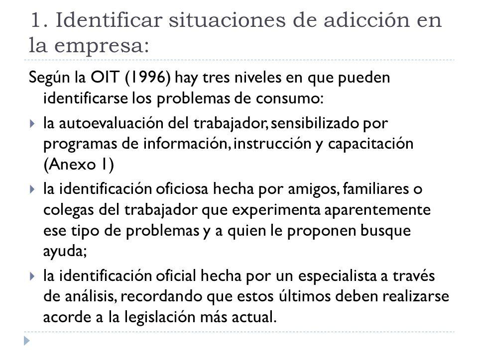 1. Identificar situaciones de adicción en la empresa: Según la OIT (1996) hay tres niveles en que pueden identificarse los problemas de consumo: la au