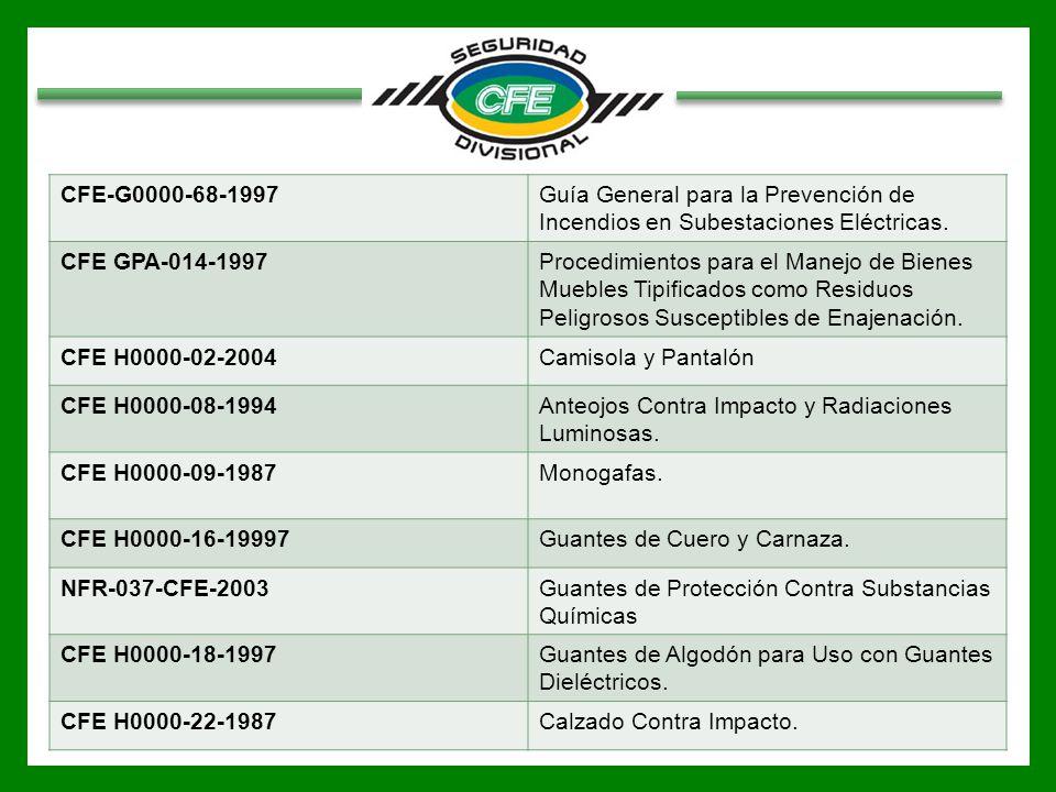 CFE-G0000-68-1997Guía General para la Prevención de Incendios en Subestaciones Eléctricas. CFE GPA-014-1997Procedimientos para el Manejo de Bienes Mue
