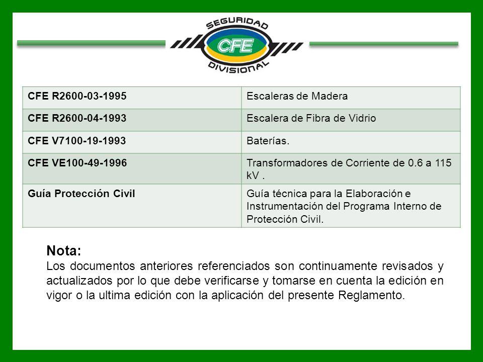 CFE R2600-03-1995Escaleras de Madera CFE R2600-04-1993Escalera de Fibra de Vidrio CFE V7100-19-1993Baterías. CFE VE100-49-1996Transformadores de Corri