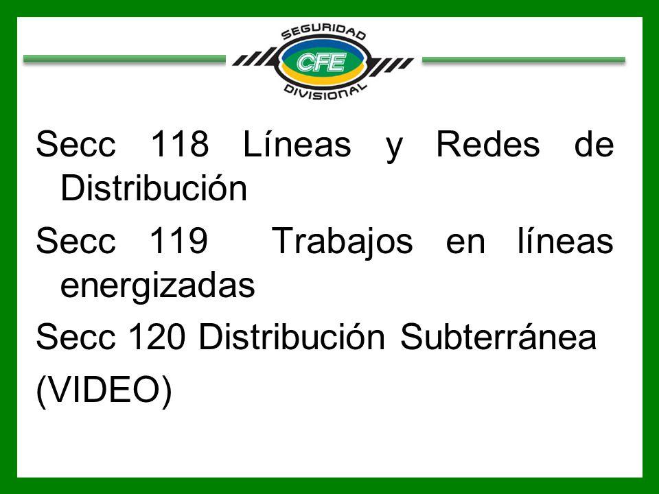 Secc 118 Líneas y Redes de Distribución Secc 119 Trabajos en líneas energizadas Secc 120 Distribución Subterránea (VIDEO)