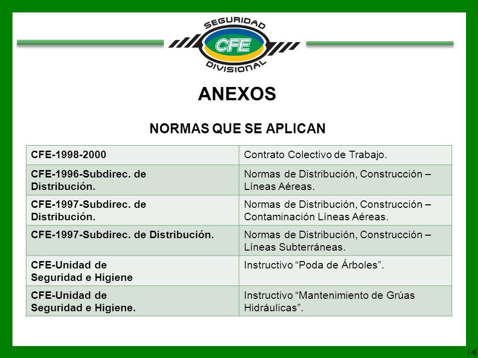 ANEXOS NORMAS QUE SE APLICAN CFE-1998-2000Contrato Colectivo de Trabajo. CFE-1996-Subdirec. de Distribución. Normas de Distribución, Construcción – Lí