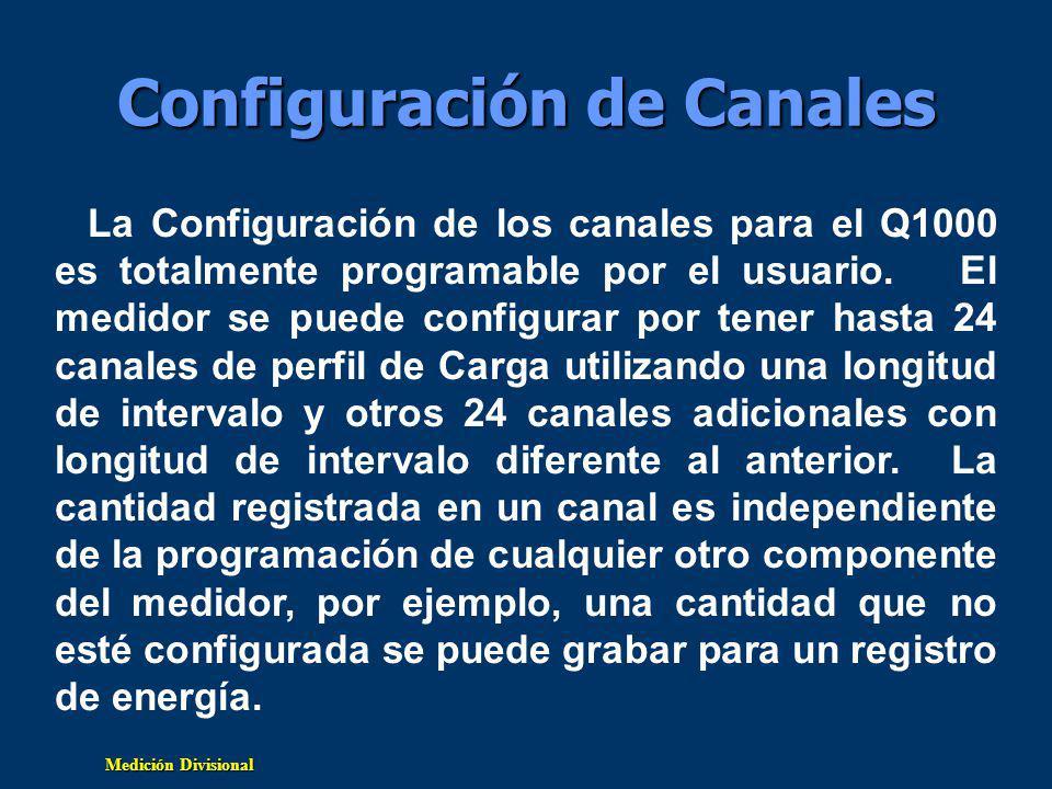 Medición Divisional Configuración de Canales La Configuración de los canales para el Q1000 es totalmente programable por el usuario.