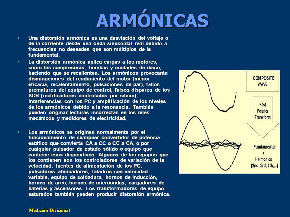 Medición Divisional ARMÓNICAS Una distorsión armónica es una desviación del voltaje o de la corriente desde una onda sinusoidal real debido a frecuencias no deseadas que son múltiplos de la fundamental.