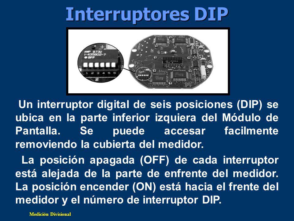 Medición Divisional Interruptores DIP Un interruptor digital de seis posiciones (DIP) se ubica en la parte inferior izquiera del Módulo de Pantalla.
