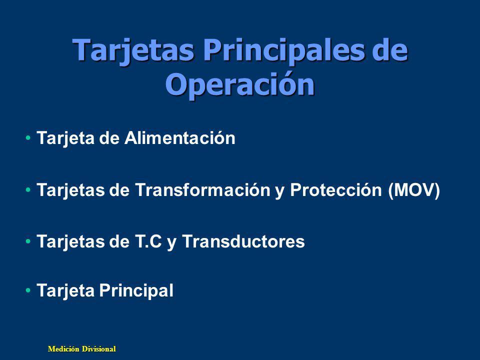 Medición Divisional Tarjetas Principales de Operación Tarjeta de Alimentación Tarjetas de Transformación y Protección (MOV) Tarjetas de T.C y Transductores Tarjeta Principal