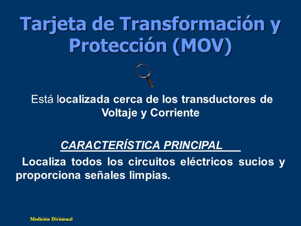 Medición Divisional Tarjeta de Transformación y Protección (MOV) Está localizada cerca de los transductores de Voltaje y Corriente CARACTERÍSTICA PRINCIPAL Localiza todos los circuitos eléctricos sucios y proporciona señales limpias.