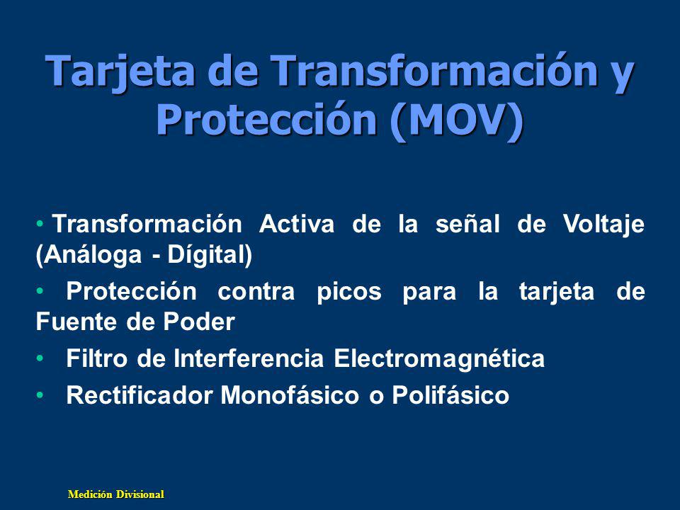 Medición Divisional Tarjeta de Transformación y Protección (MOV) Transformación Activa de la señal de Voltaje (Análoga - Dígital) Protección contra picos para la tarjeta de Fuente de Poder Filtro de Interferencia Electromagnética Rectificador Monofásico o Polifásico