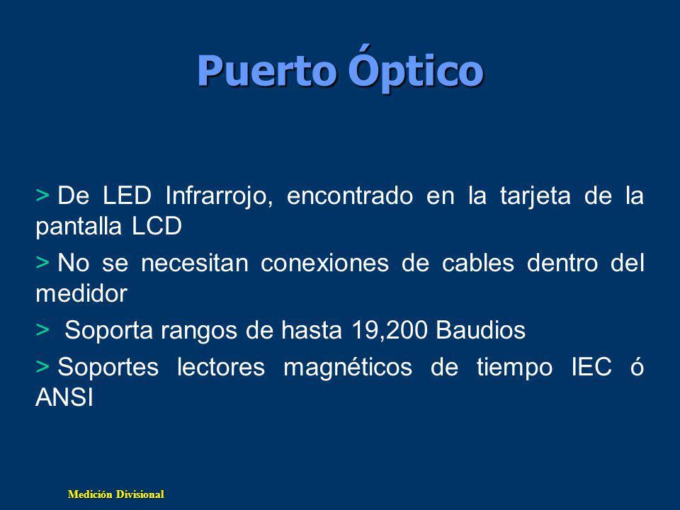 Medición Divisional Puerto Óptico > De LED Infrarrojo, encontrado en la tarjeta de la pantalla LCD > No se necesitan conexiones de cables dentro del medidor > Soporta rangos de hasta 19,200 Baudios > Soportes lectores magnéticos de tiempo IEC ó ANSI
