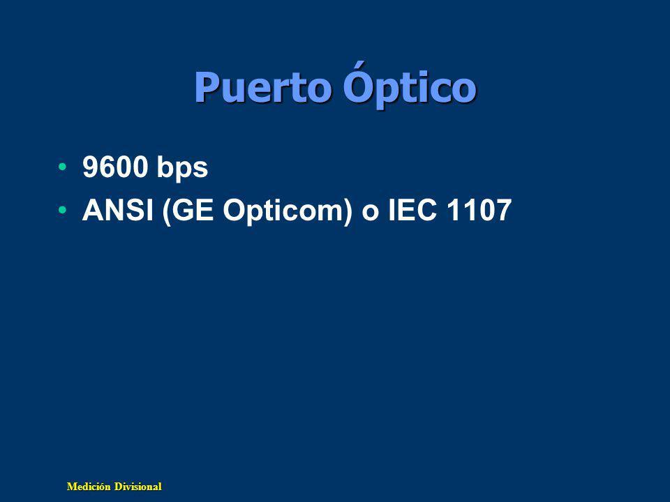 Medición Divisional Puerto Óptico 9600 bps ANSI (GE Opticom) o IEC 1107