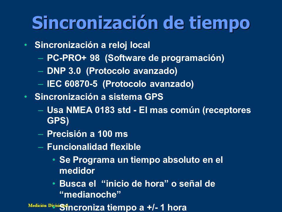 Medición Divisional Sincronización de tiempo Sincronización a reloj local –PC-PRO+ 98 (Software de programación) –DNP 3.0 (Protocolo avanzado) –IEC 60870-5 (Protocolo avanzado) Sincronización a sistema GPS –Usa NMEA 0183 std - El mas común (receptores GPS) –Precisión a 100 ms –Funcionalidad flexible Se Programa un tiempo absoluto en el medidor Busca el inicio de hora o señal de medianoche Sincroniza tiempo a +/- 1 hora