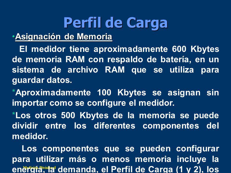 Medición Divisional Perfil de Carga Asignación de MemoriaAsignación de Memoria El medidor tiene aproximadamente 600 Kbytes de memoria RAM con respaldo de batería, en un sistema de archivo RAM que se utiliza para guardar datos.