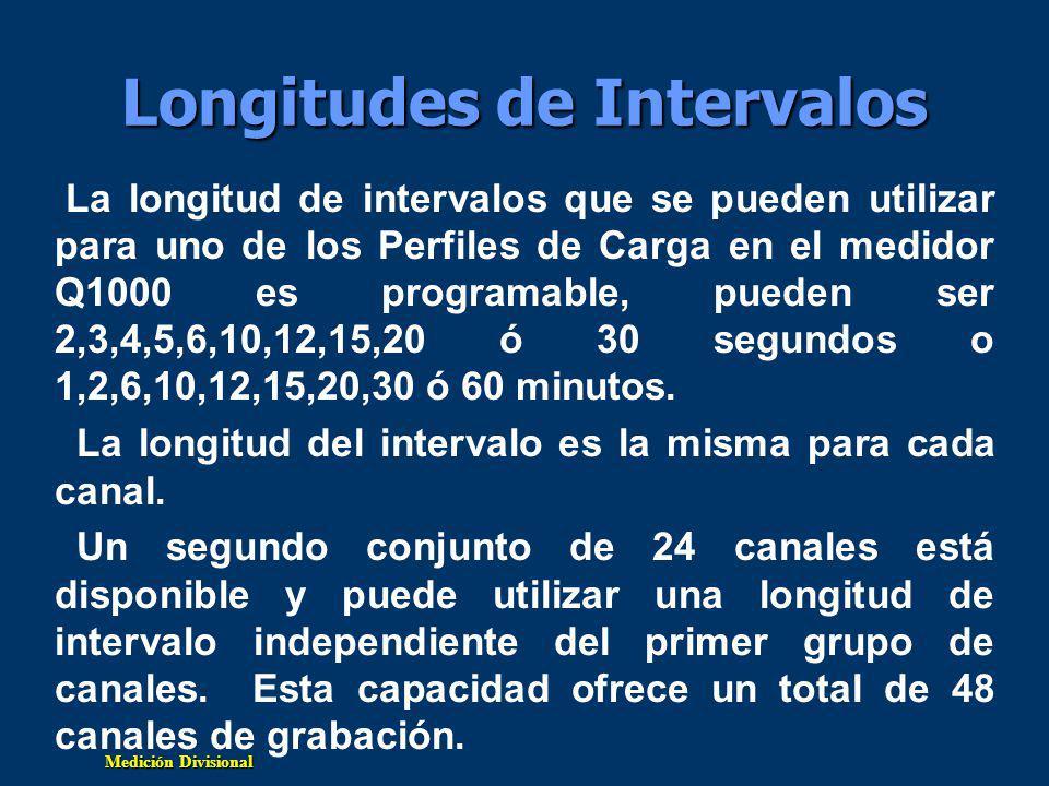 Medición Divisional Longitudes de Intervalos La longitud de intervalos que se pueden utilizar para uno de los Perfiles de Carga en el medidor Q1000 es programable, pueden ser 2,3,4,5,6,10,12,15,20 ó 30 segundos o 1,2,6,10,12,15,20,30 ó 60 minutos.