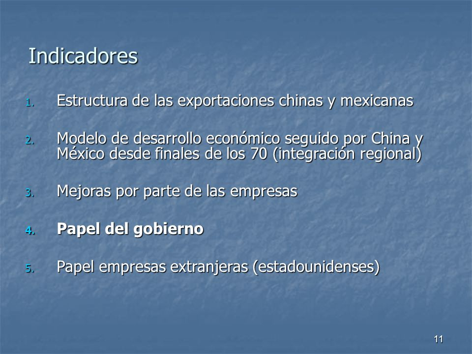 11 Indicadores 1. Estructura de las exportaciones chinas y mexicanas 2.