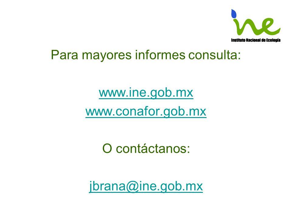 Para mayores informes consulta: www.ine.gob.mx www.conafor.gob.mx O contáctanos: jbrana@ine.gob.mx