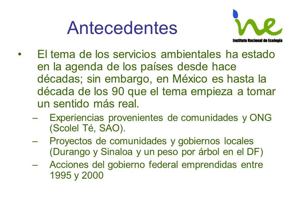 Antecedentes El tema de los servicios ambientales ha estado en la agenda de los países desde hace décadas; sin embargo, en México es hasta la década d