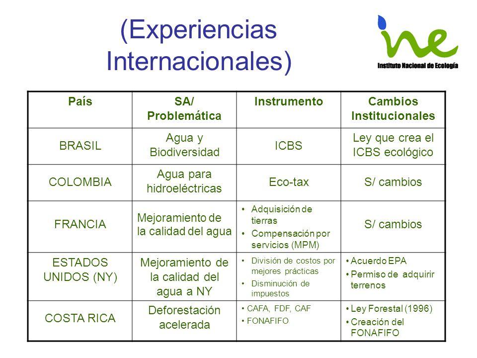 (Experiencias Internacionales) PaísSA/ Problemática InstrumentoCambios Institucionales BRASIL Agua y Biodiversidad ICBS Ley que crea el ICBS ecológico