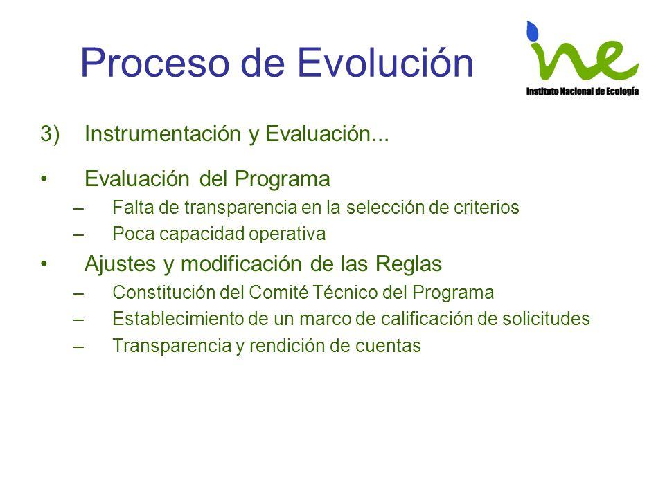 Proceso de Evolución 3)Instrumentación y Evaluación... Evaluación del Programa –Falta de transparencia en la selección de criterios –Poca capacidad op