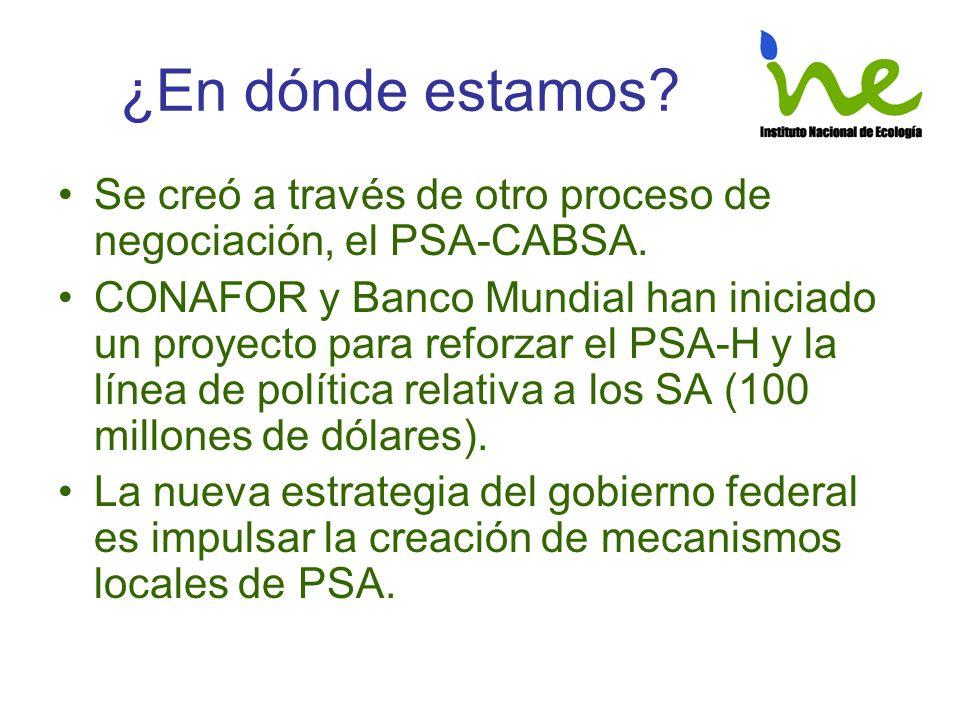¿En dónde estamos? Se creó a través de otro proceso de negociación, el PSA-CABSA. CONAFOR y Banco Mundial han iniciado un proyecto para reforzar el PS