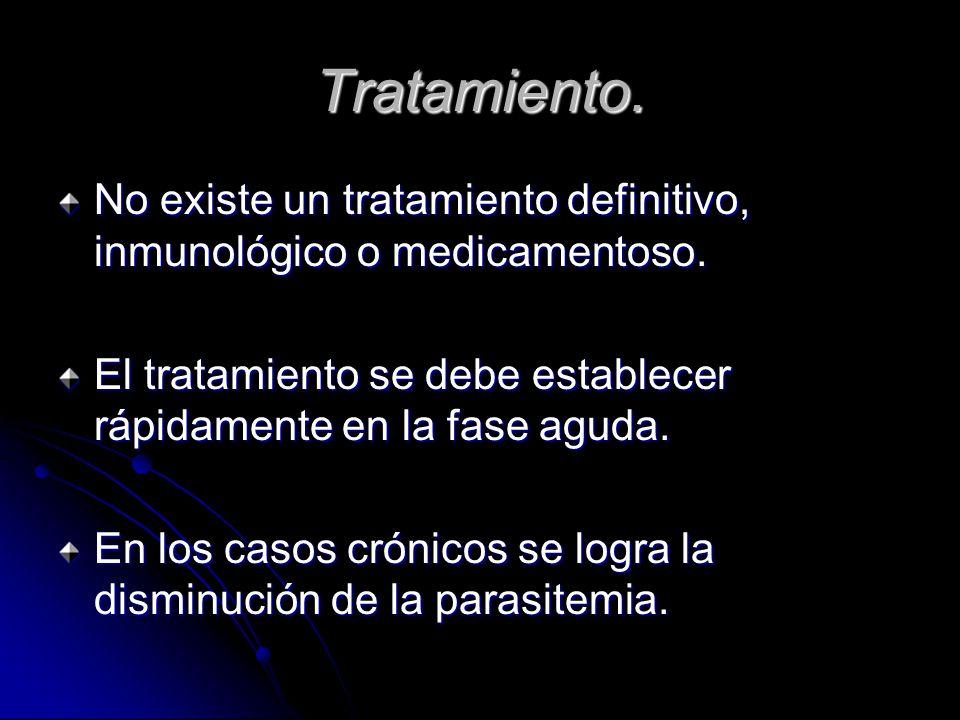 Tratamiento.No existe un tratamiento definitivo, inmunológico o medicamentoso.