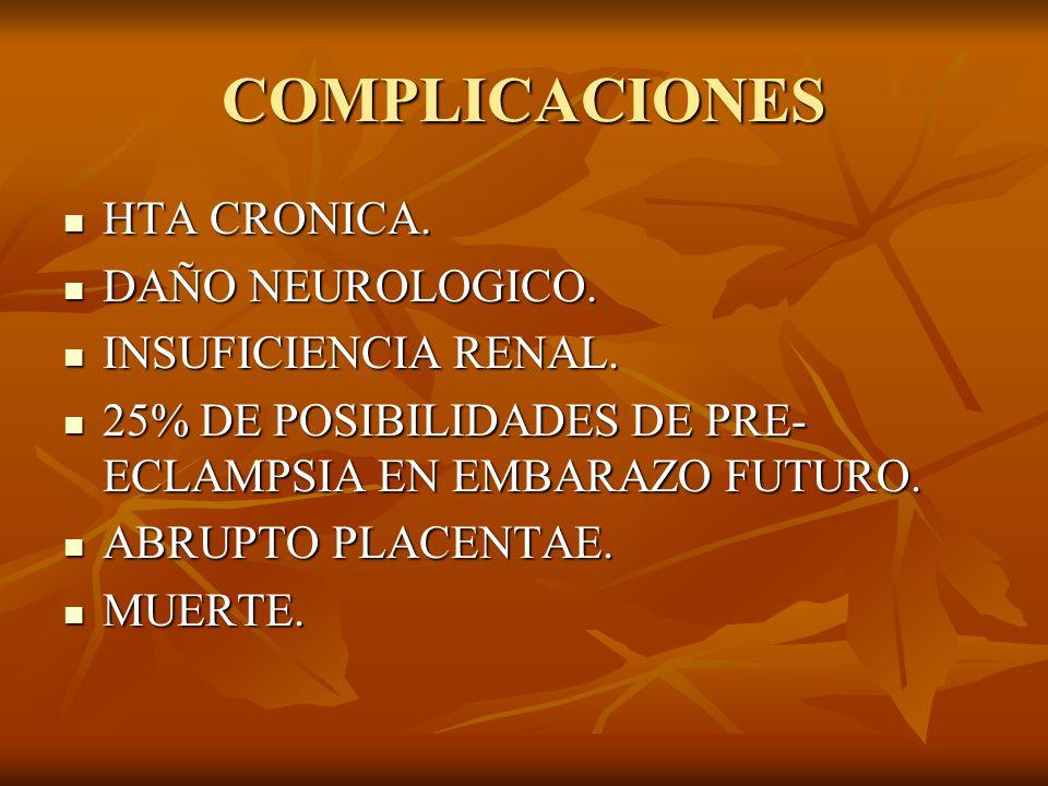 COMPLICACIONES HTA CRONICA. HTA CRONICA. DAÑO NEUROLOGICO. DAÑO NEUROLOGICO. INSUFICIENCIA RENAL. INSUFICIENCIA RENAL. 25% DE POSIBILIDADES DE PRE- EC