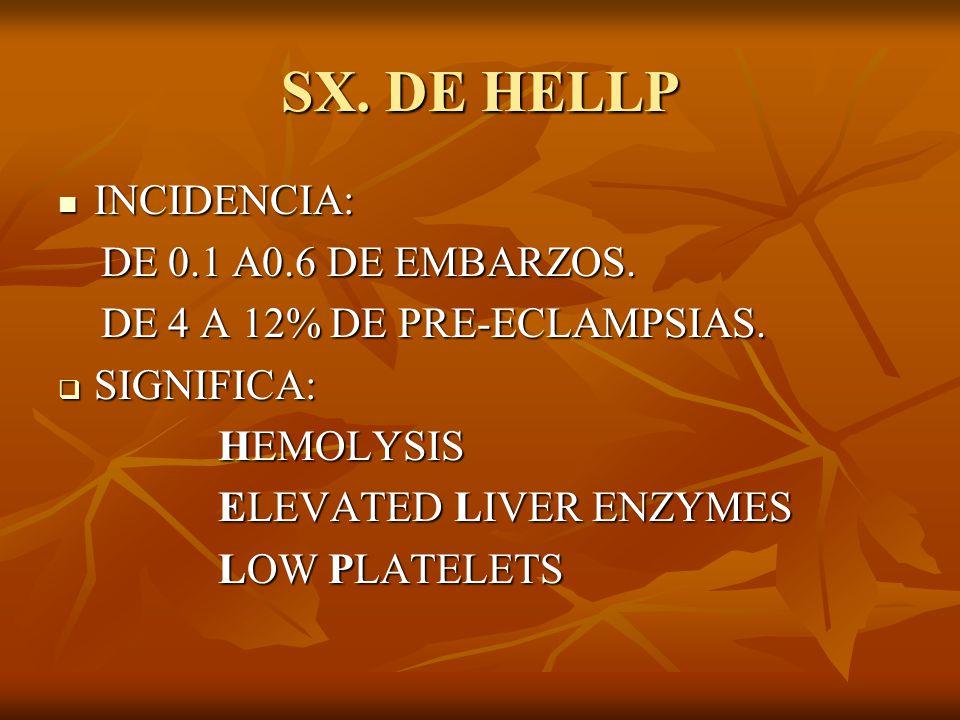 SX. DE HELLP INCIDENCIA: INCIDENCIA: DE 0.1 A0.6 DE EMBARZOS. DE 0.1 A0.6 DE EMBARZOS. DE 4 A 12% DE PRE-ECLAMPSIAS. DE 4 A 12% DE PRE-ECLAMPSIAS. SIG