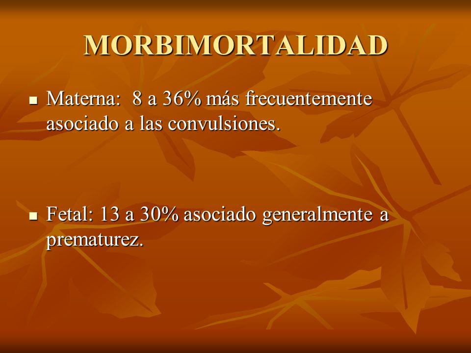 MORBIMORTALIDAD Materna: 8 a 36% más frecuentemente asociado a las convulsiones. Materna: 8 a 36% más frecuentemente asociado a las convulsiones. Feta