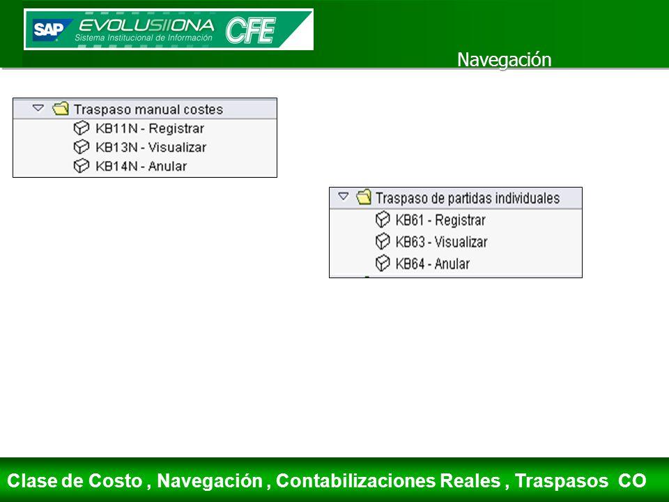 Navegación Clase de Costo, Navegación, Contabilizaciones Reales, Traspasos CO