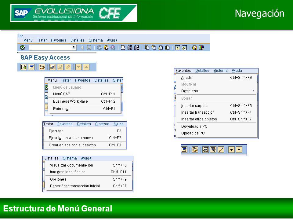 Navegación Informes Centro de Beneficio