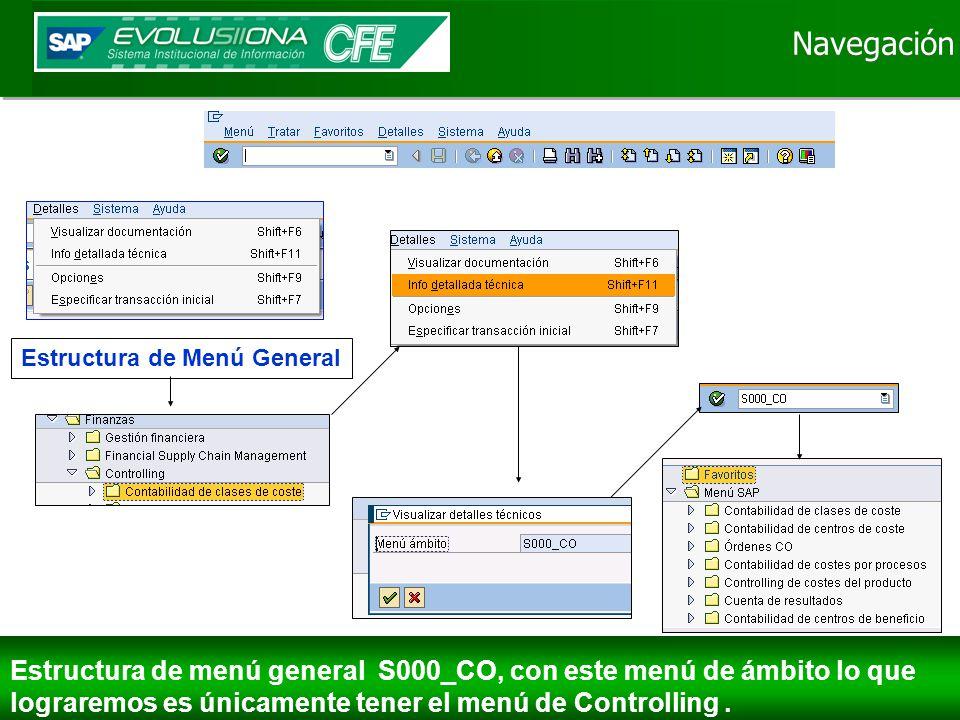 Navegación Estructura de menú general S000_CO, con este menú de ámbito lo que lograremos es únicamente tener el menú de Controlling.