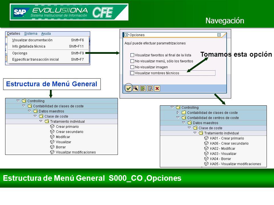 Navegación Estructura de Menú General S000_CO,Opciones Estructura de Menú General Tomamos esta opción