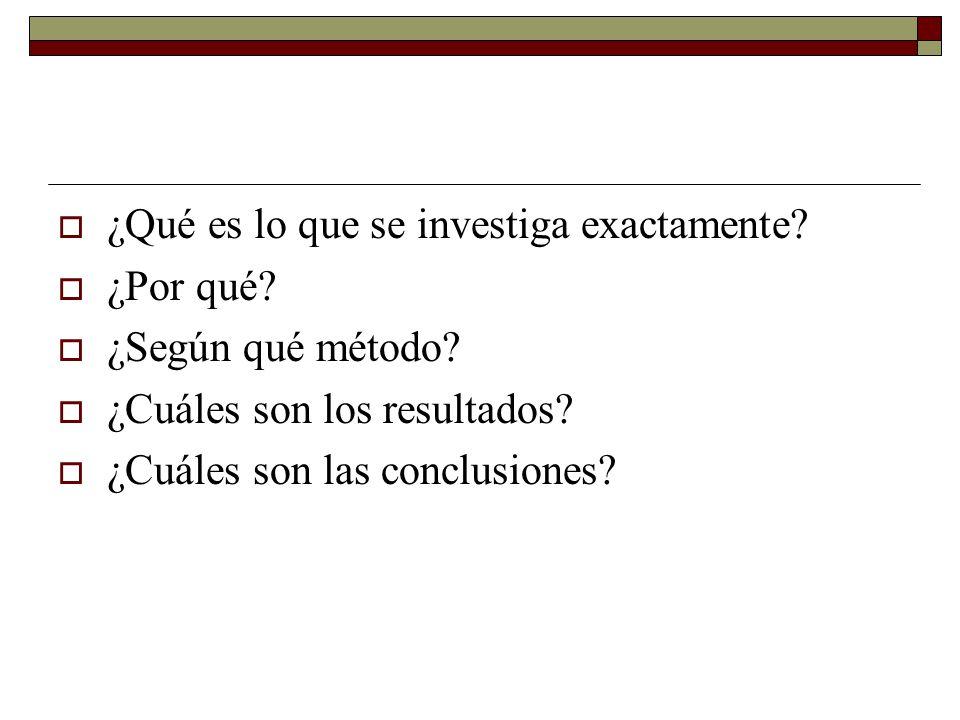 ¿Qué es lo que se investiga exactamente? ¿Por qué? ¿Según qué método? ¿Cuáles son los resultados? ¿Cuáles son las conclusiones?