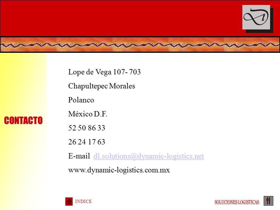 INDICE Lope de Vega 107- 703 Chapultepec Morales Polanco México D.F. 52 50 86 33 26 24 17 63 E-mail dl.solutions@dynamic-logistics.net dl.solutions@dy