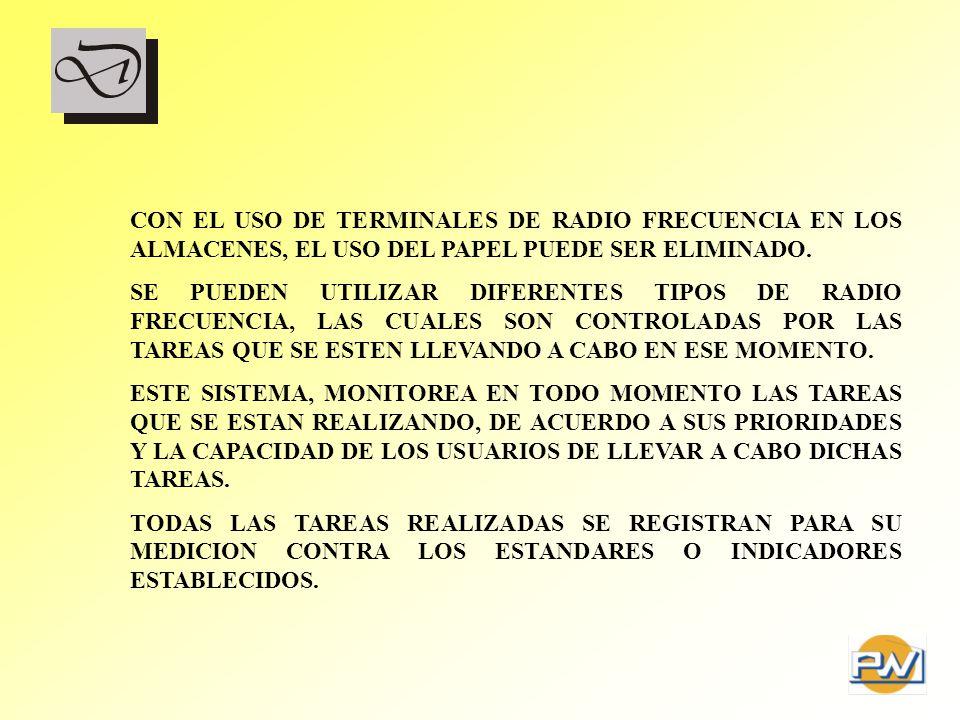 CON EL USO DE TERMINALES DE RADIO FRECUENCIA EN LOS ALMACENES, EL USO DEL PAPEL PUEDE SER ELIMINADO. SE PUEDEN UTILIZAR DIFERENTES TIPOS DE RADIO FREC