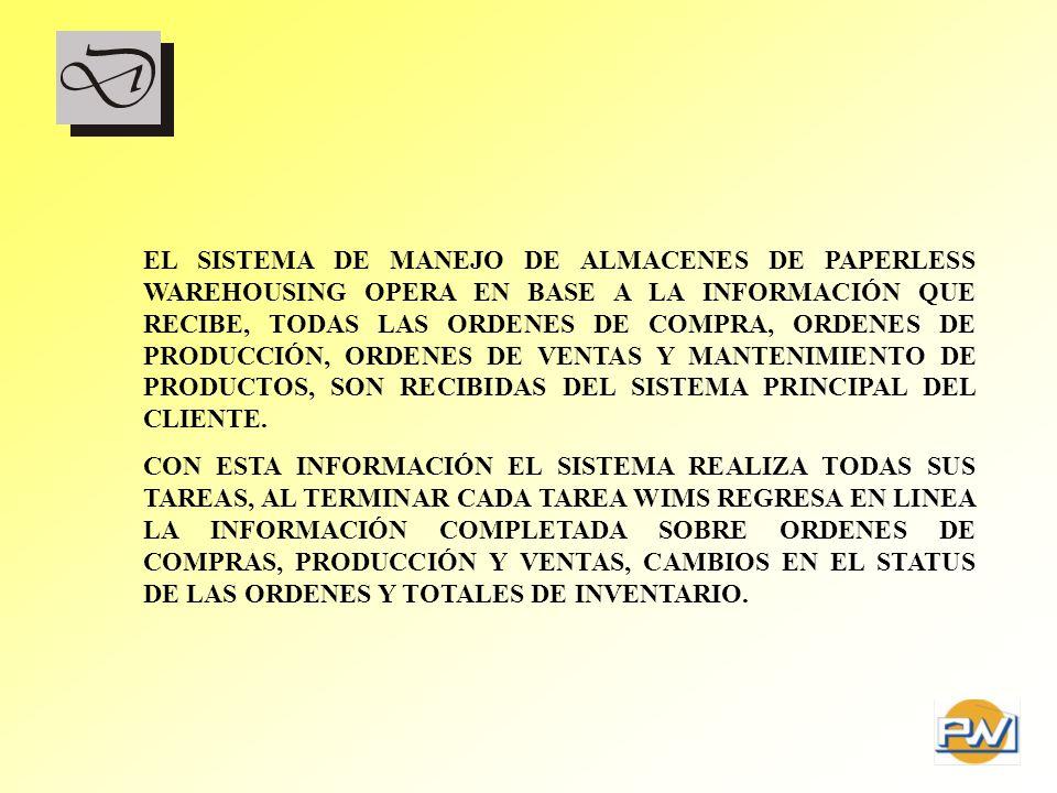 EL SISTEMA DE MANEJO DE ALMACENES DE PAPERLESS WAREHOUSING OPERA EN BASE A LA INFORMACIÓN QUE RECIBE, TODAS LAS ORDENES DE COMPRA, ORDENES DE PRODUCCI