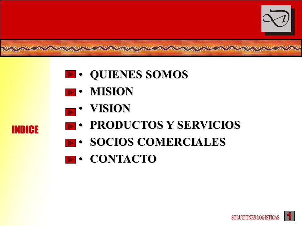 QUIENES SOMOSQUIENES SOMOS MISIONMISION VISIONVISION PRODUCTOS Y SERVICIOSPRODUCTOS Y SERVICIOS SOCIOS COMERCIALESSOCIOS COMERCIALES CONTACTOCONTACTO