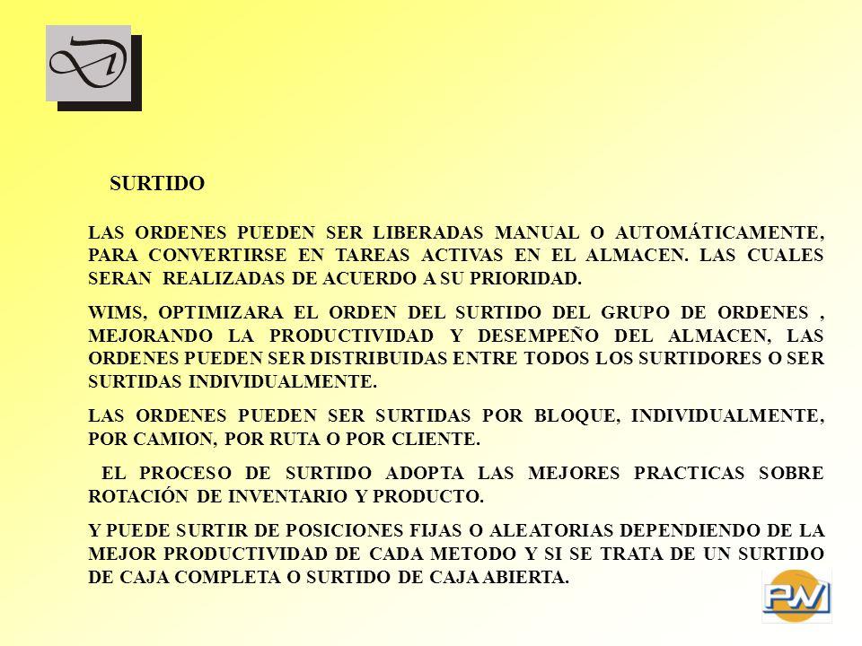 SURTIDO LAS ORDENES PUEDEN SER LIBERADAS MANUAL O AUTOMÁTICAMENTE, PARA CONVERTIRSE EN TAREAS ACTIVAS EN EL ALMACEN. LAS CUALES SERAN REALIZADAS DE AC