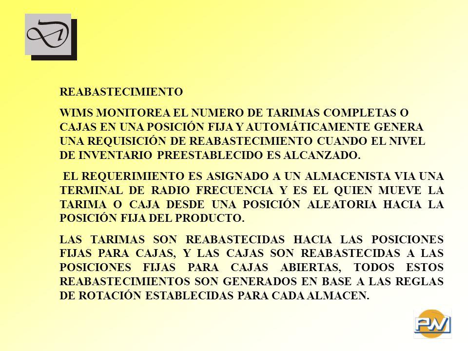 REABASTECIMIENTO WIMS MONITOREA EL NUMERO DE TARIMAS COMPLETAS O CAJAS EN UNA POSICIÓN FIJA Y AUTOMÁTICAMENTE GENERA UNA REQUISICIÓN DE REABASTECIMIEN