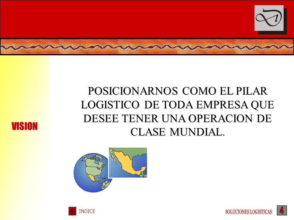 VISION POSICIONARNOS COMO EL PILAR LOGISTICO DE TODA EMPRESA QUE DESEE TENER UNA OPERACION DE CLASE MUNDIAL.