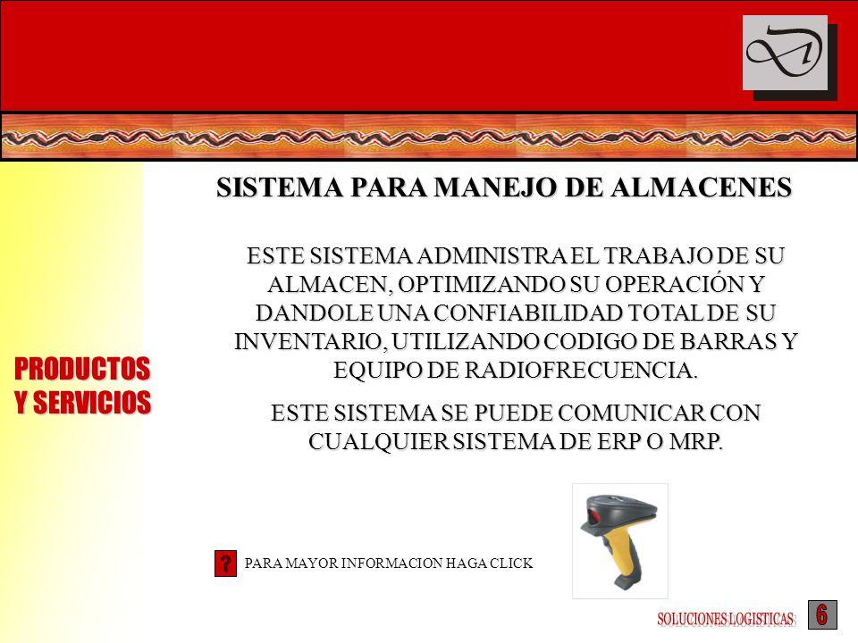 PRODUCTOS Y SERVICIOS SISTEMA PARA MANEJO DE ALMACENES ESTE SISTEMA ADMINISTRA EL TRABAJO DE SU ALMACEN, OPTIMIZANDO SU OPERACIÓN Y DANDOLE UNA CONFIA
