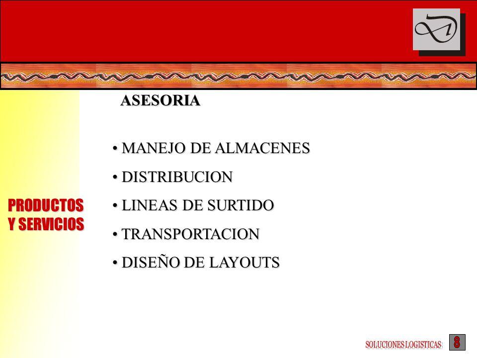 ASESORIA MANEJO DE ALMACENES MANEJO DE ALMACENES DISTRIBUCION DISTRIBUCION LINEAS DE SURTIDO LINEAS DE SURTIDO TRANSPORTACION TRANSPORTACION DISEÑO DE