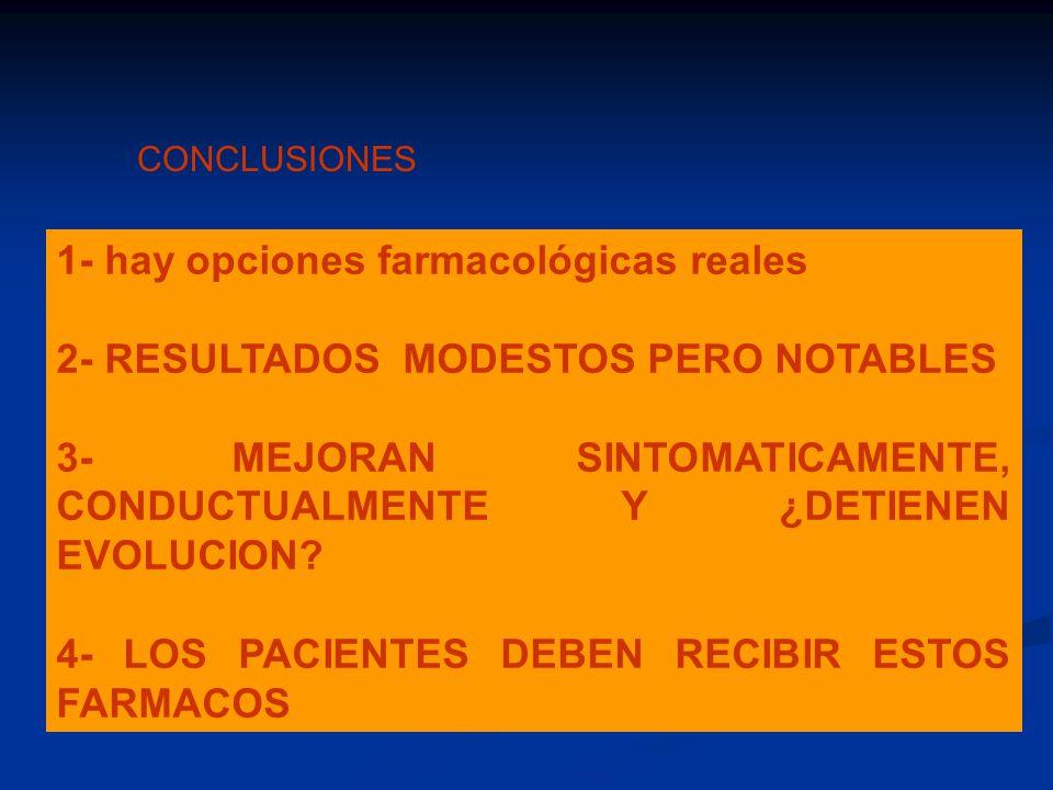 CONCLUSIONES 1- hay opciones farmacológicas reales 2- RESULTADOS MODESTOS PERO NOTABLES 3- MEJORAN SINTOMATICAMENTE, CONDUCTUALMENTE Y ¿DETIENEN EVOLU