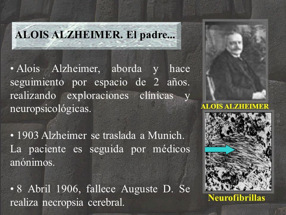ALOIS ALZHEIMER ALOIS ALZHEIMER. El padre... Alois Alzheimer, aborda y hace seguimiento por espacio de 2 años. realizando exploraciones clínicas y neu