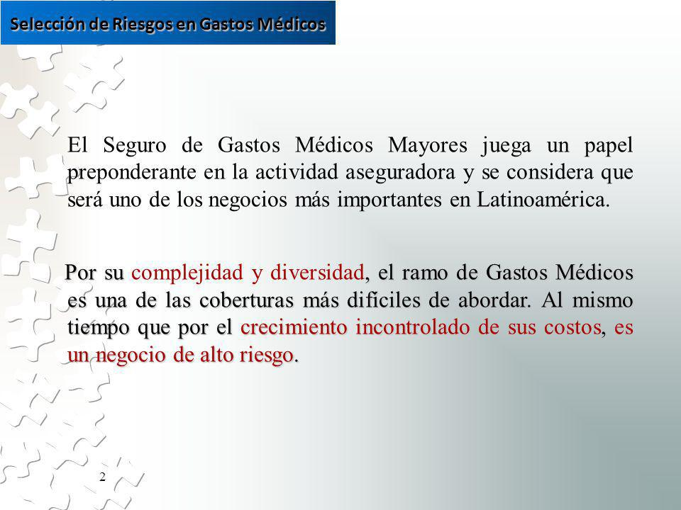 2 El Seguro de Gastos Médicos Mayores juega un papel preponderante en la actividad aseguradora y se considera que será uno de los negocios más importantes en Latinoamérica.