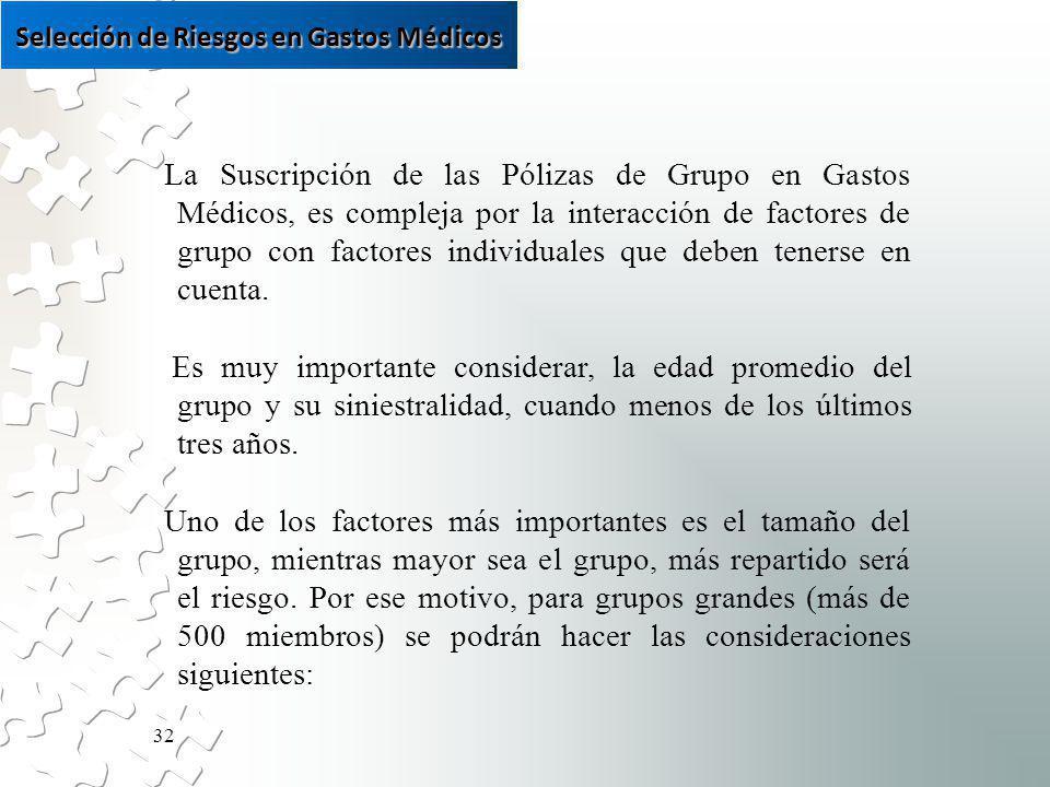 32 La Suscripción de las Pólizas de Grupo en Gastos Médicos, es compleja por la interacción de factores de grupo con factores individuales que deben tenerse en cuenta.