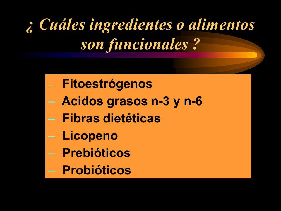 ¿ Cuáles ingredientes o alimentos son funcionales ? – Fitoestrógenos – Acidos grasos n-3 y n-6 – Fibras dietéticas – Licopeno – Prebióticos – Probióti