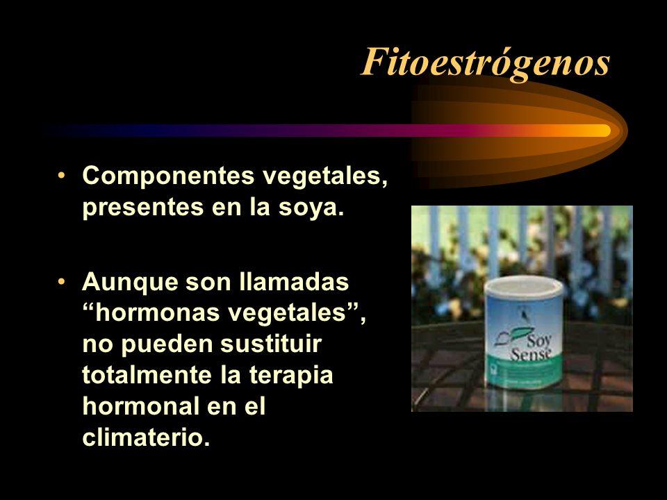 Fitoestrógenos Componentes vegetales, presentes en la soya. Aunque son llamadas hormonas vegetales, no pueden sustituir totalmente la terapia hormonal